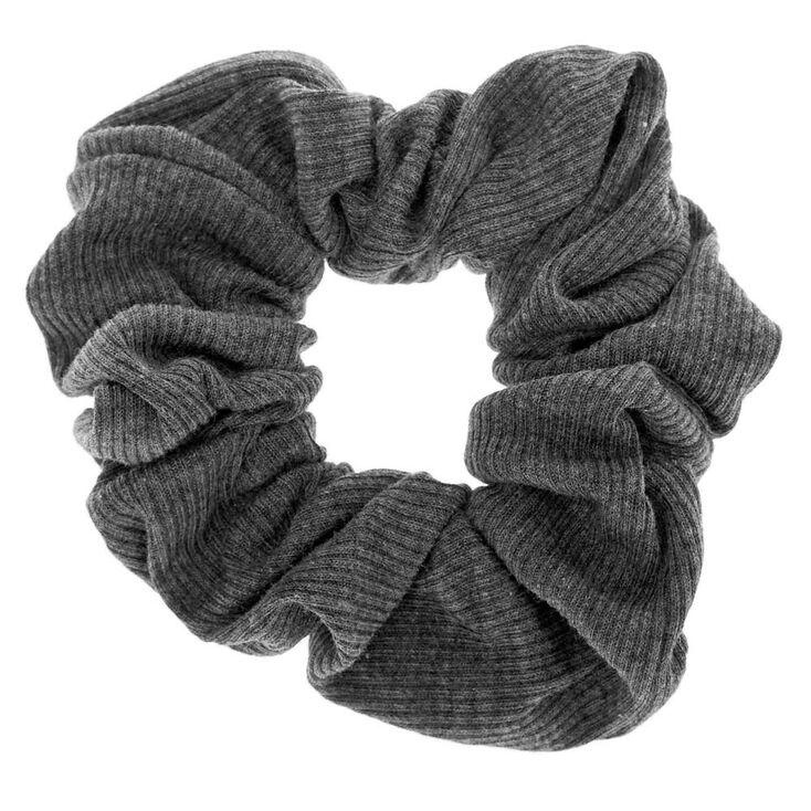 Medium Ribbed Hair Scrunchie - Charcoal,