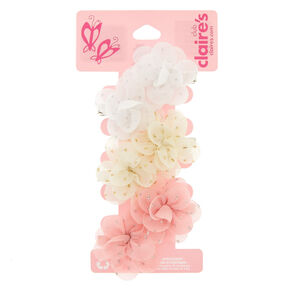 Claire's Club Floral Glitter Hair Clips - 6 Pack,