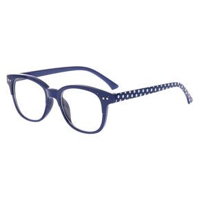 Claire's Club Polka Dot Rectangle Clear Lens Frames - Navy,