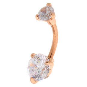 Rose Gold 14G Round Stone Belly Ring,