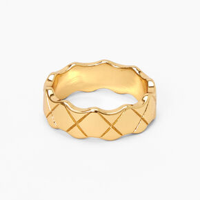 18kt Gold Plated Refined Quilted Ring,
