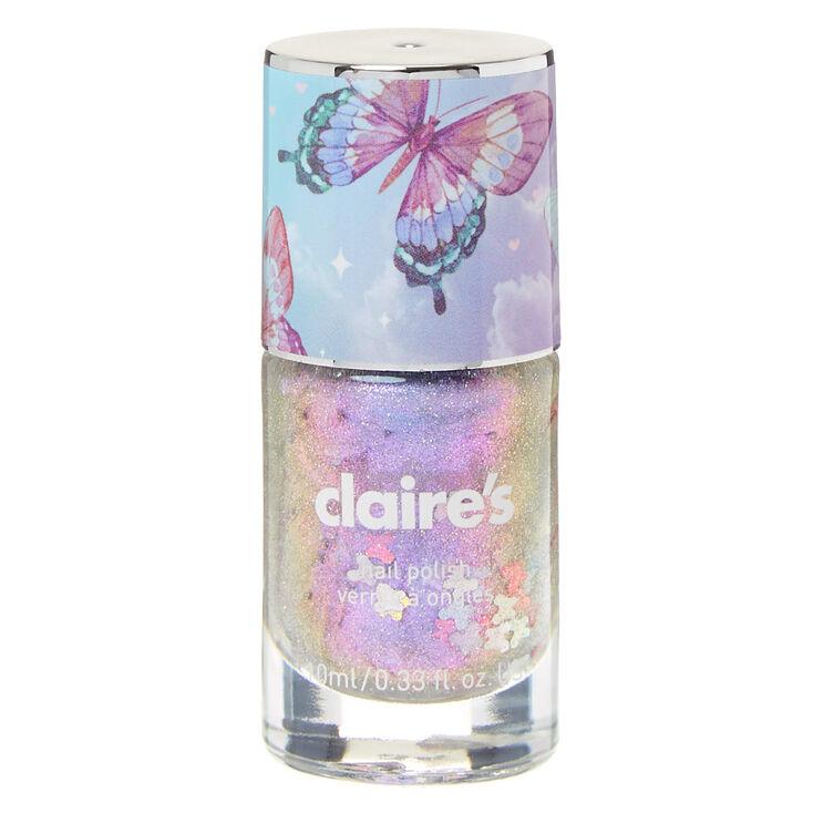 Butterfly Glitter Nail Polish - Purple,