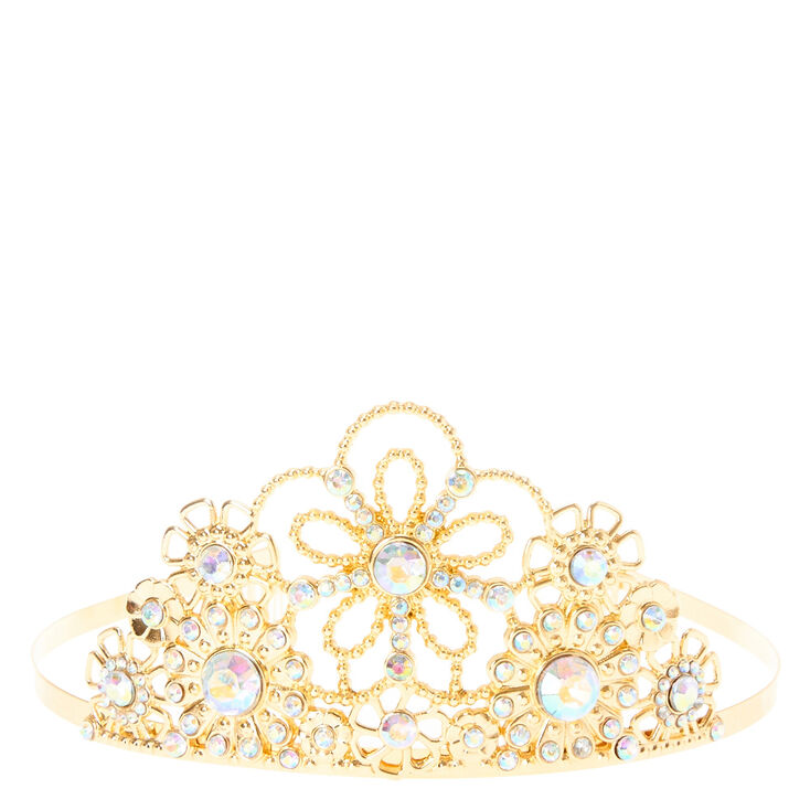 Claire's Club Iridescent Crystal Tiara - Gold,
