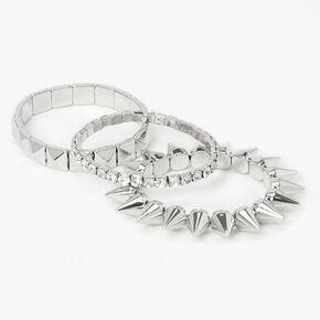 Bracelets élastiques à pointes couleur argentée - Lot de 3,