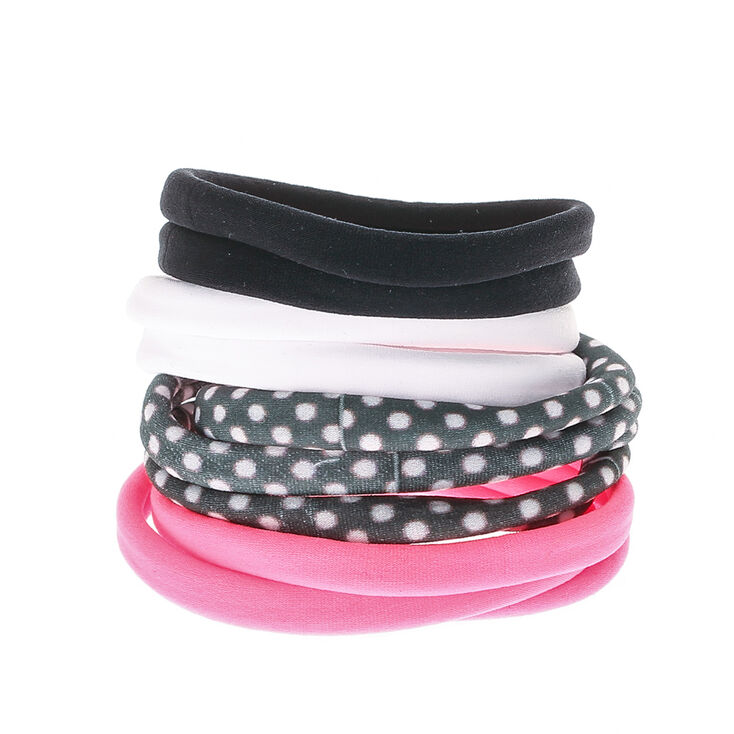 Solid Polka Dot Rolled Hair Bobbles - Pink, 10 Pack,