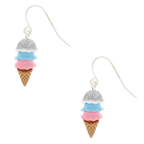"Silver 1"" Glitter Ice Cream Cone Drop Earrings,"