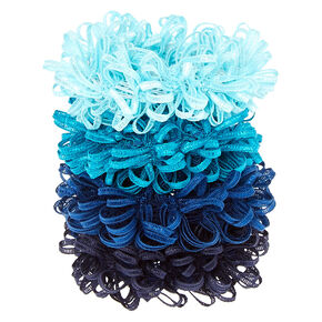 Small Ocean Looped Hair Scrunchies - Blue, 4 Pack,