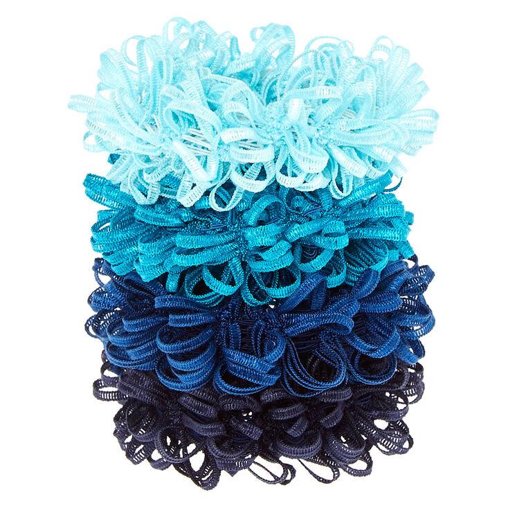Small Ocean Looped Hair Scrunchies - Blue, 4 Pack,