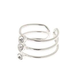 Silver Embellished Triple Band Ear Cuff,