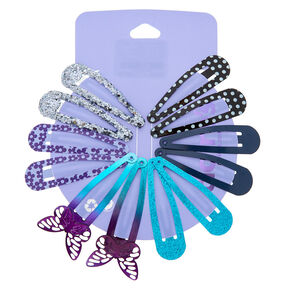 Sequin Butterfly Snap Hair Clips - 12 Pack,
