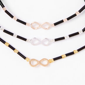 Mixed Metal Beaded Infinity Adjustable Bracelets - 3 Pack,