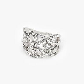 Silver Embellished Evil Eye Ring,