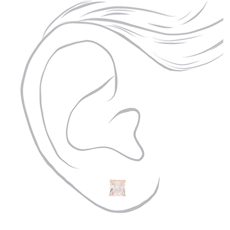 Rose Gold Cubic Zirconia Round Stud Earrings - 6MM,