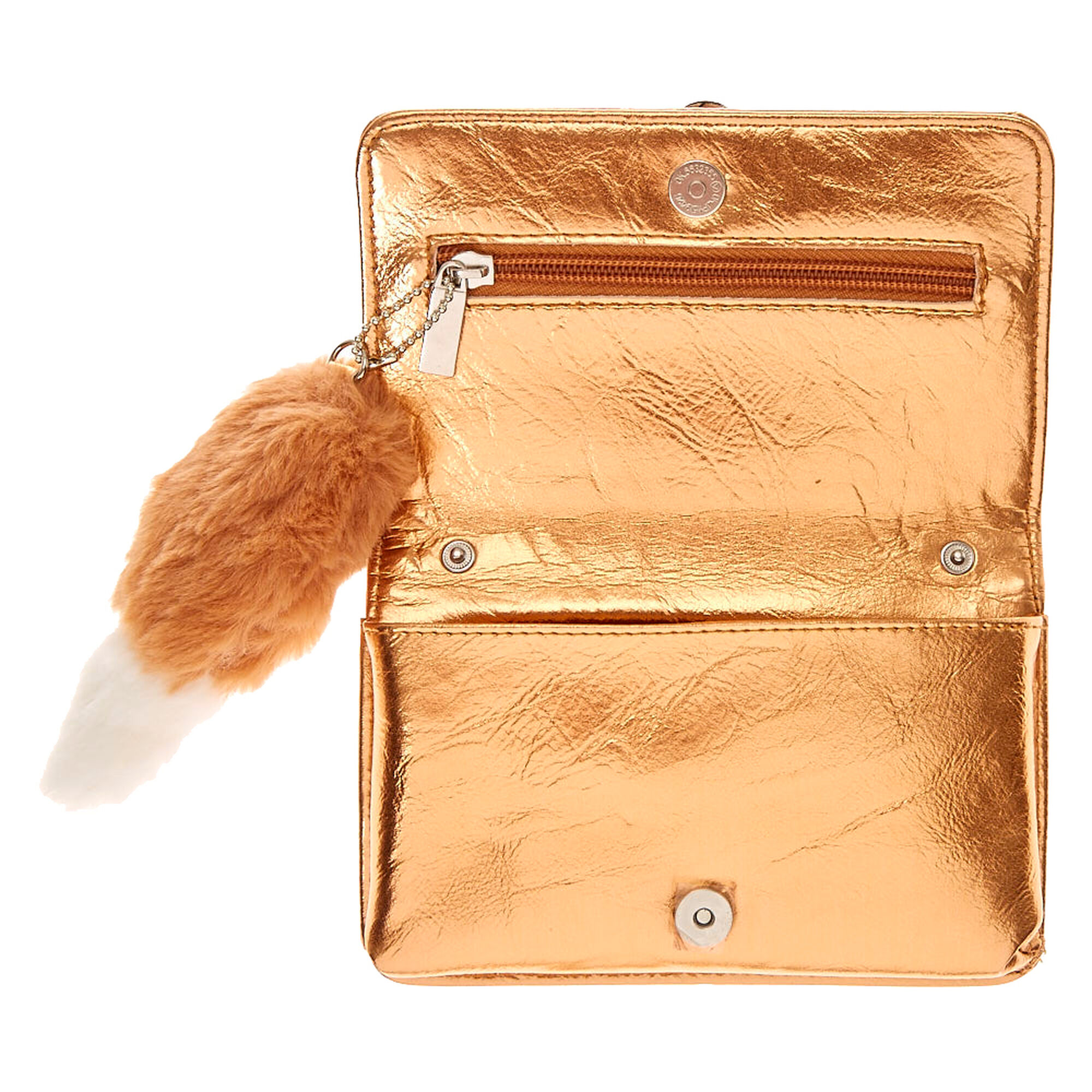 Francesca the Fox Golden Metallic Crossbody Wallet | Claire\'s US