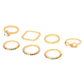 Gold Rainbow Assorted Rings - 7 Pack,