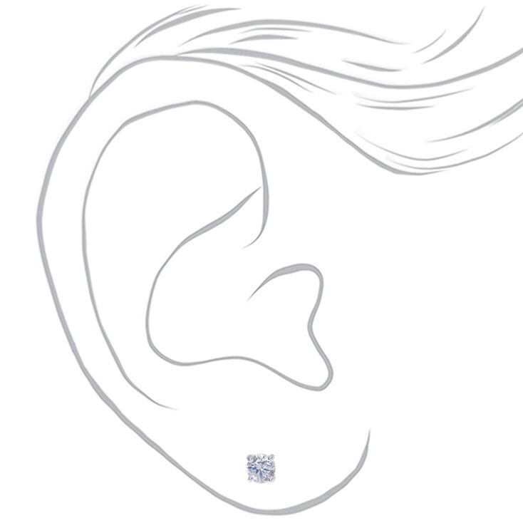 Sterling Silver Cubic Zirconia Round Stud Earrings - 4MM,