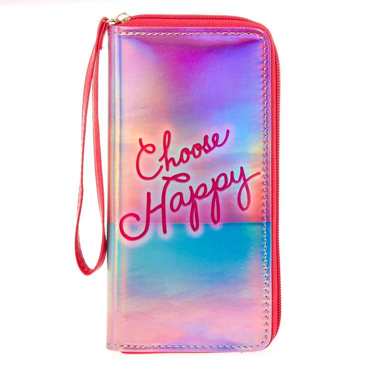 Choose Happy Holographic Wristlet,
