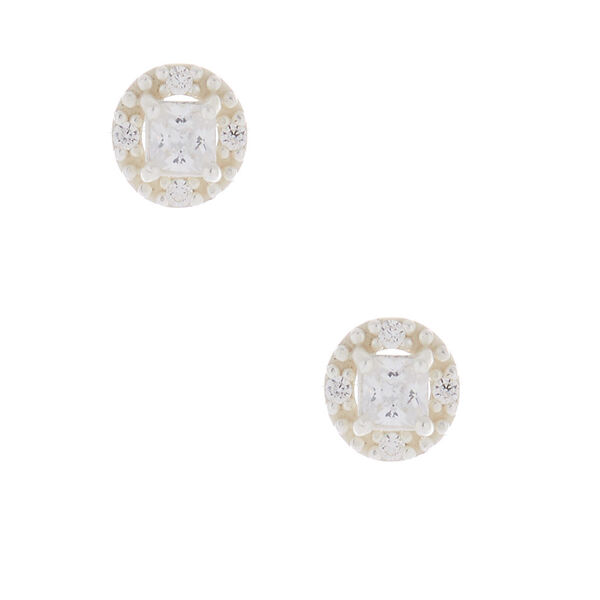 Claire's - sterling cubic zirconia 3mm square halo earrings - 1