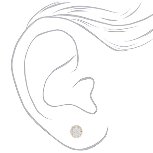 Claire's - sterling cubic zirconia 3mm square halo earrings - 2
