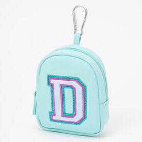 Mint Varsity Initial Mini Backpack Keychain - D,