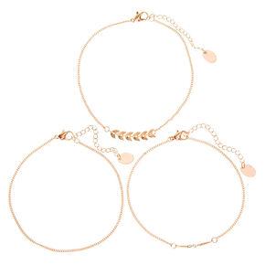 Bracelets de cheville chaîne feuilles et perles d'imitation couleur doré rose - Lot de 3,