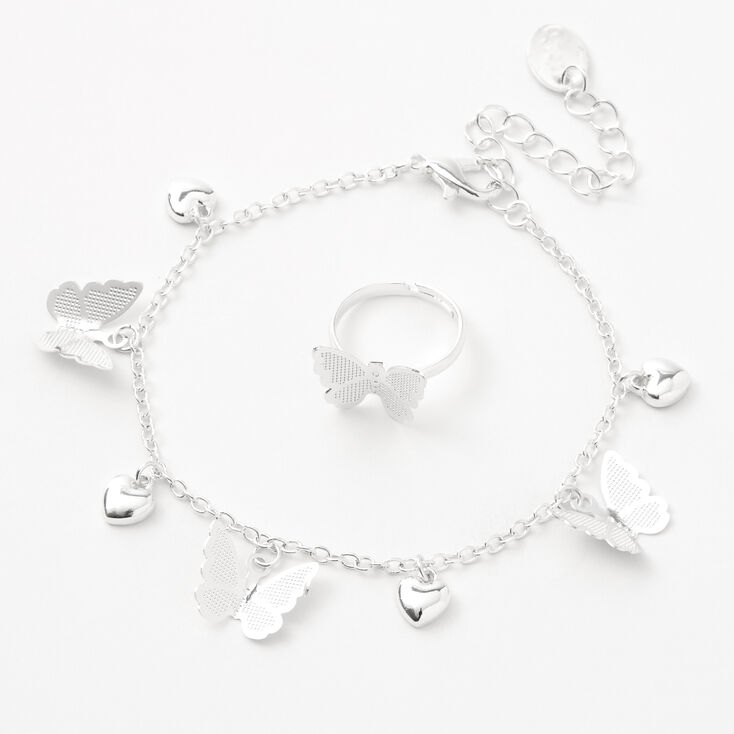 Claire's Club Silver Heart Butterfly Jewelry Set - 3 Pack,