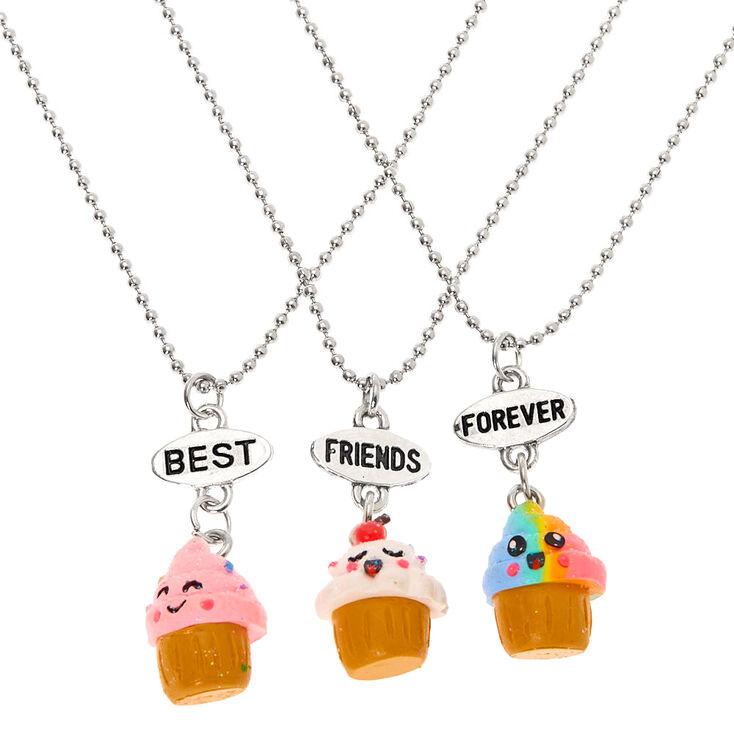 Best Friends Cupcake Pendant Necklaces - 3 Pack,