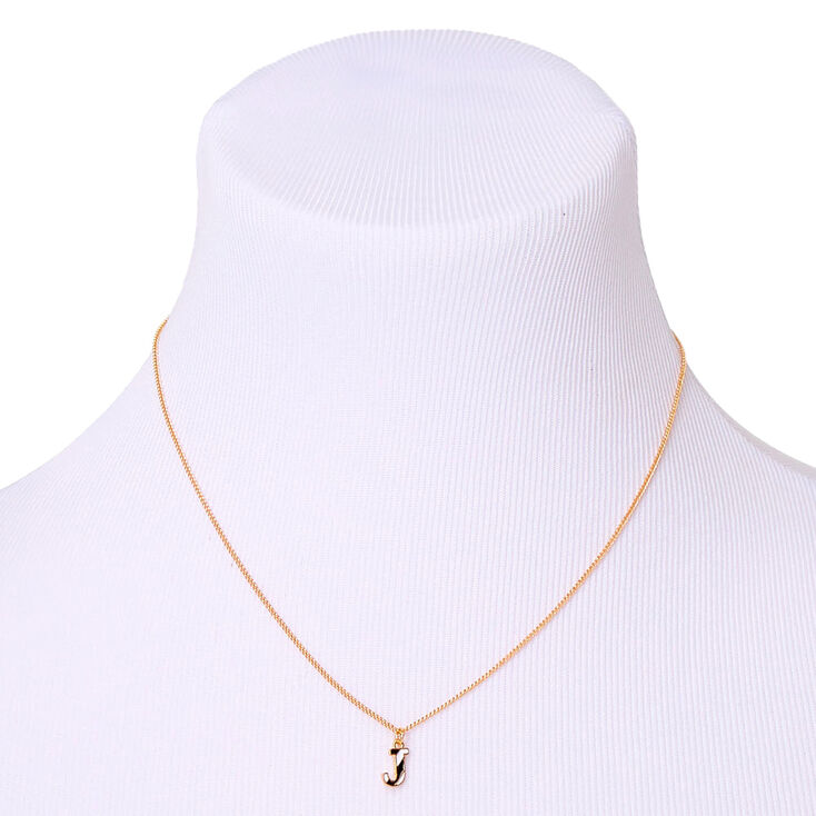 Gold Striped Initial Pendant Necklace - J,