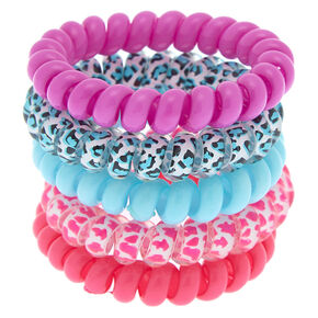 Bright Leopard Spiral Hair Bobbles - 5 Pack,