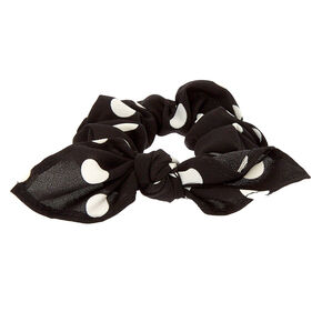 Small Polka Dot Knotted Bow Hair Scrunchie - Black,