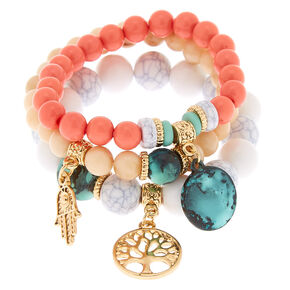 Gold Hamsa Tree Beaded Stretch Bracelets - 3 Pack,