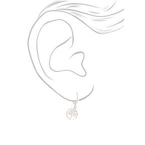 Silver 10MM Tree Charm Hoop Earrings,