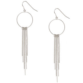 Silver-tone Silver Open Circle with Bar Fringe Drop Earrings,