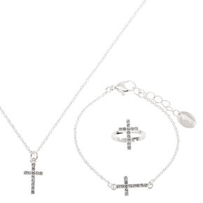 Claire's Club Silver Cross Jewellery Set - 3 Pack,