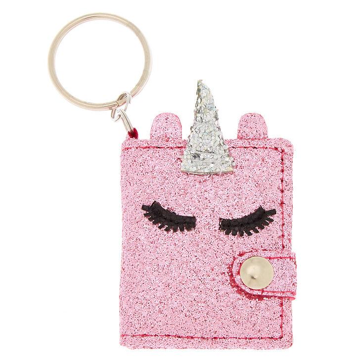 Glitter Unicorn Mini Diary Keychain - Pink,