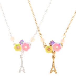 Best Friends Flower Paris Pendant Necklaces - 2 Pack,