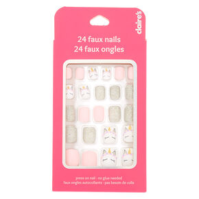 Unicorn Glitter Square Press On Faux Nail Set - 24 Pack,