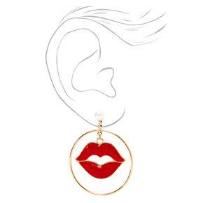 Pendantes couleur dorée avec lèvres en émail rouges,