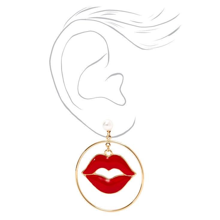 Red Enamel Lips Gold Drop Earrings,