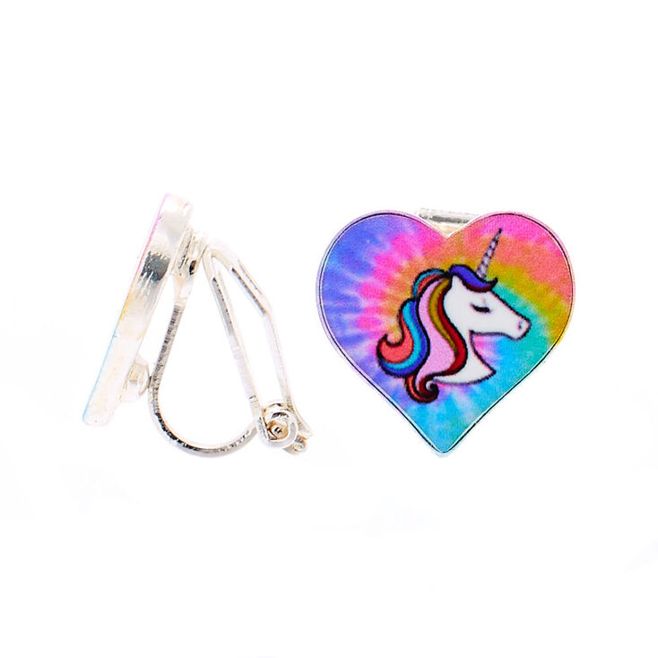 Miss Glitter the Unicorn Heart Clip On Earrings,