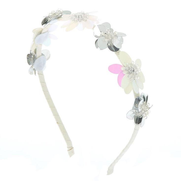 Claire s Club Sequin Flower Headband - White 242ec2739c8