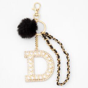 Gold Bling Initial Pom Pom Keyring - Black, D,
