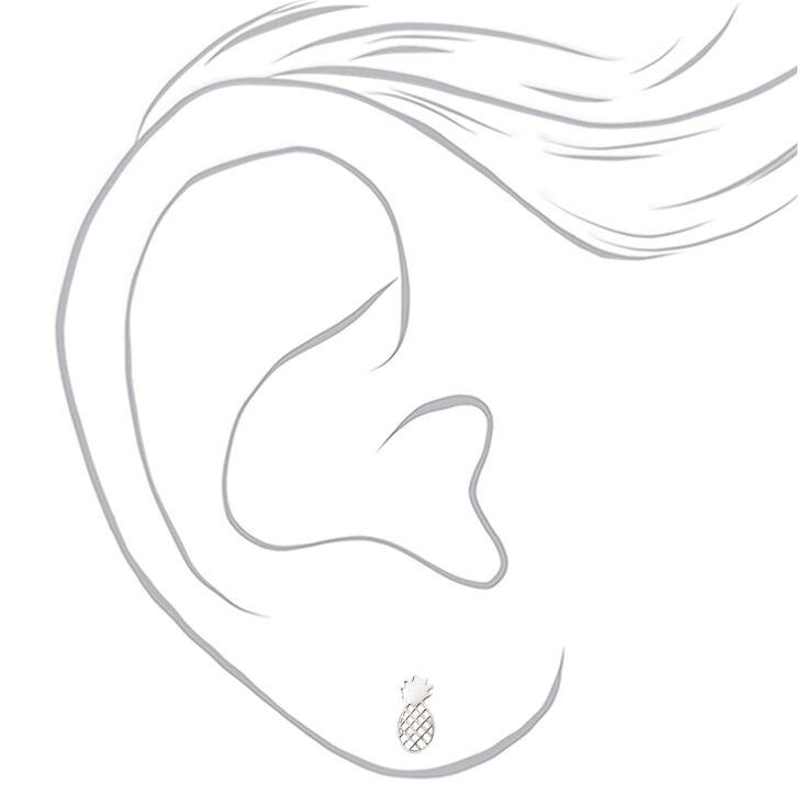 Sterling Silver Pineapple Stud Earrings,