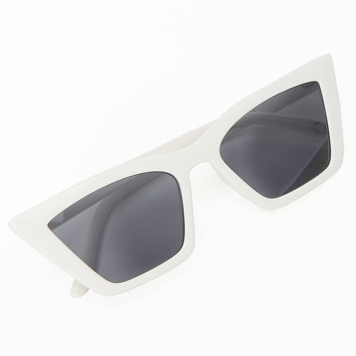 Rectangular Cat Eye Sunglasses - White,