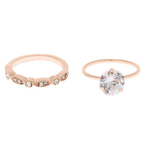 fc906c9850a1db Rose Gold Cubic Zirconia Modern Rings - 2 Pack