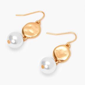 Pendantes perle d'imitation disques martelés 5cm couleur dorée,