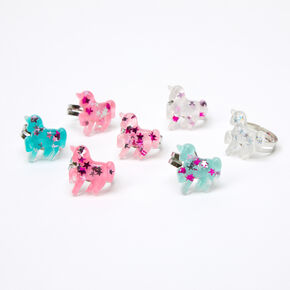 Claire's Club Glitter Unicorns Ring Set - 7 Pack,