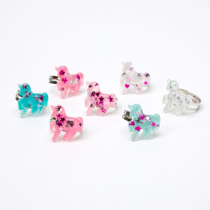 Claire's Club Glitter Unicorns Ring Set - 7 Pack,