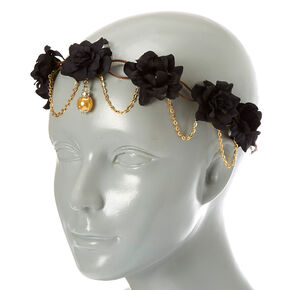 Gold Chain Flower Crown Headwrap - Black c374316977c