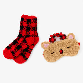 Plaid Reindeer Sleeping Mask & Crew Socks Set - Red, 2 Pack,